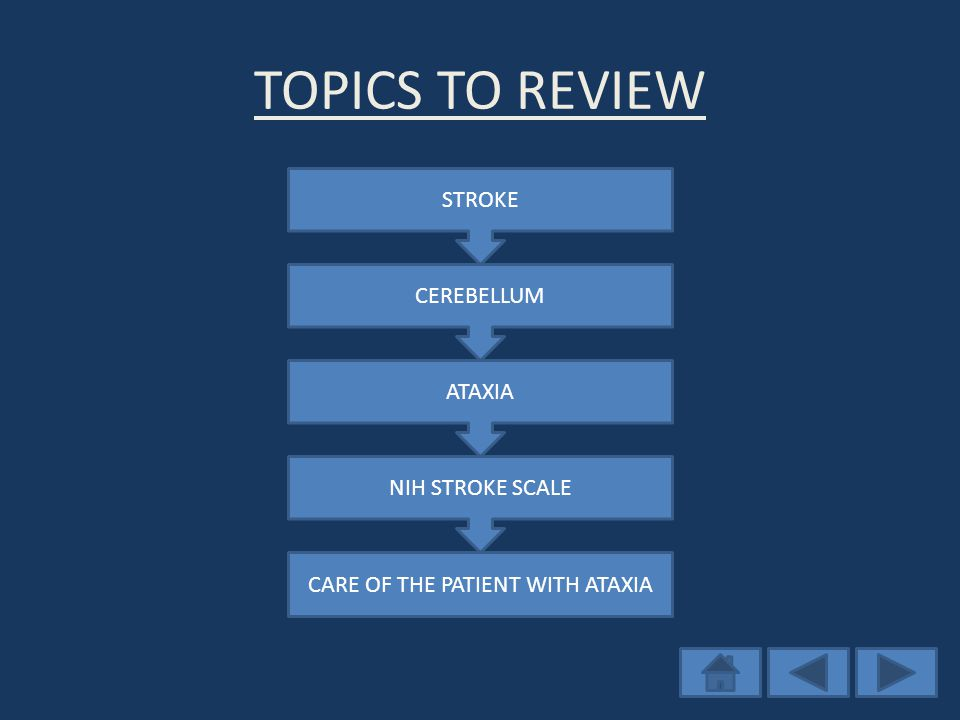 TOPICS TO REVIEW STROKE CEREBELLUM ATAXIA NIH STROKE SCALE CARE OF THE PATIENT WITH ATAXIA