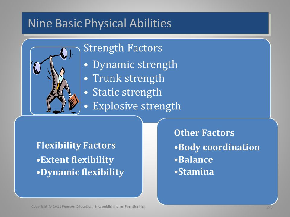 Nine Basic Physical Abilities 2-9 Copyright © 2011 Pearson Education, Inc. publishing as Prentice Hall Strength Factors Dynamic strength Trunk strengt