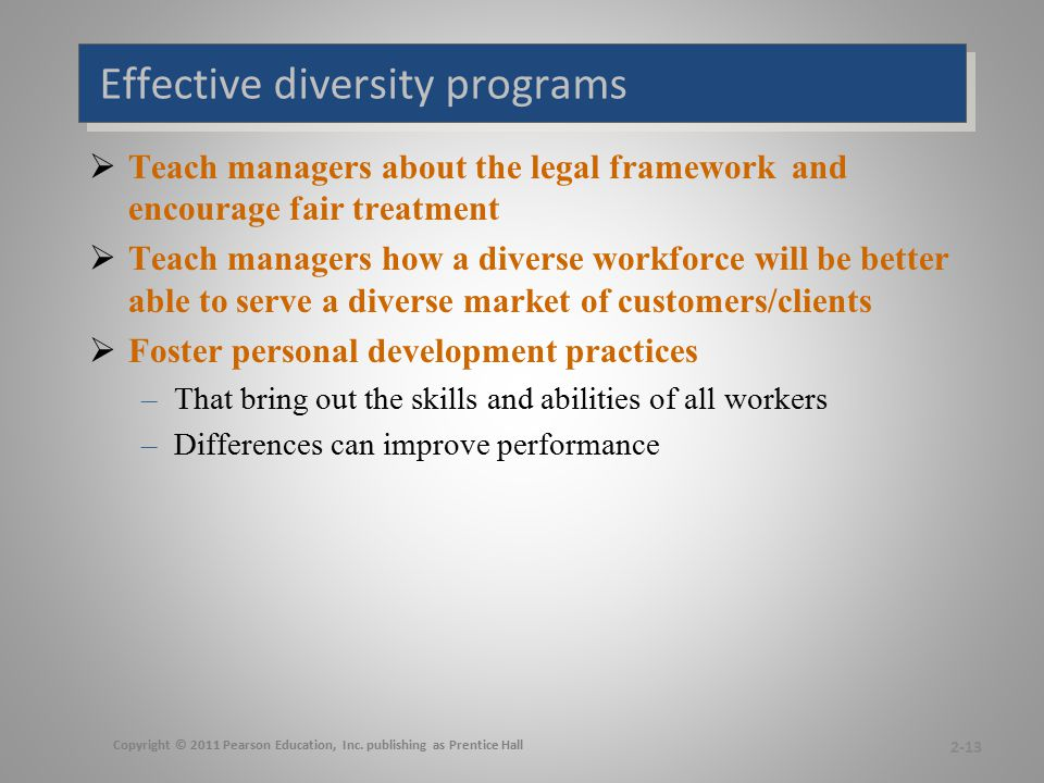 Effective diversity programs  Teach managers about the legal framework and encourage fair treatment  Teach managers how a diverse workforce will be