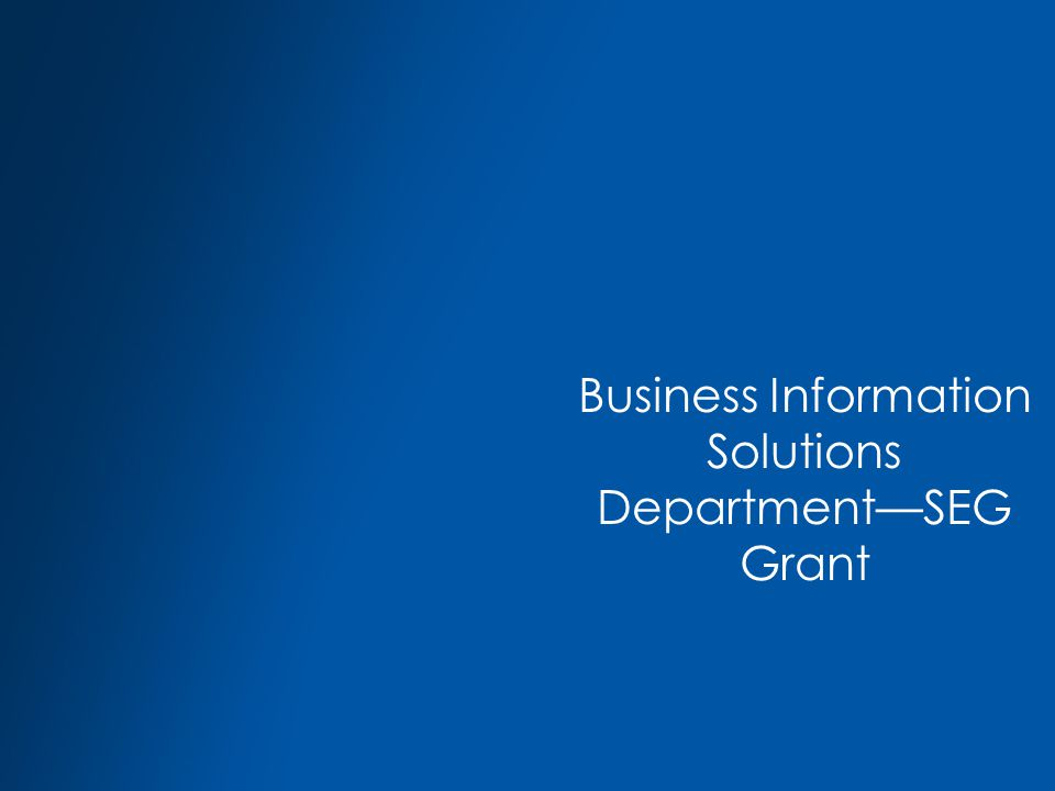 Business Information Solutions Department—SEG Grant