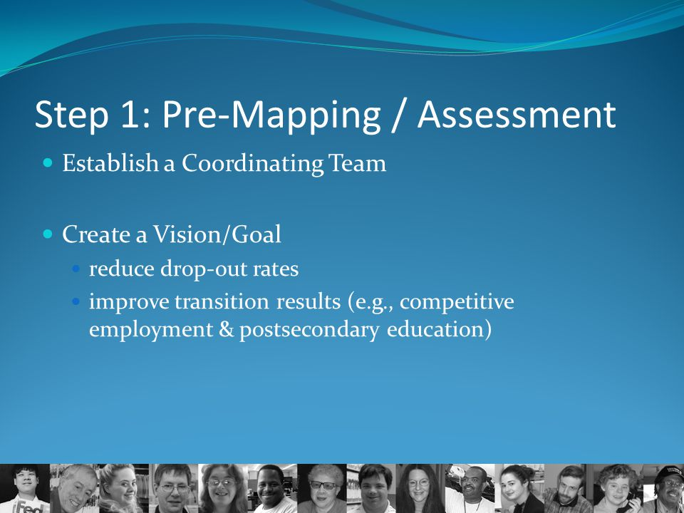 Step 1: Pre-Mapping / Assessment Establish a Coordinating Team Create a Vision/Goal reduce drop-out rates improve transition results (e.g., competitiv