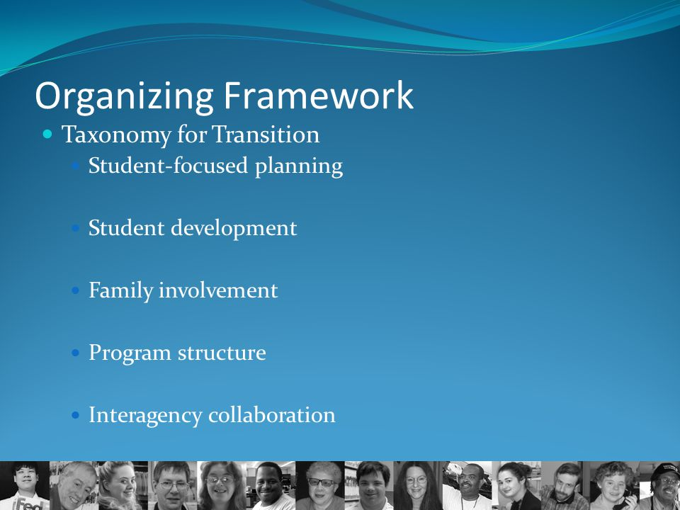 Organizing Framework Taxonomy for Transition Student-focused planning Student development Family involvement Program structure Interagency collaborati