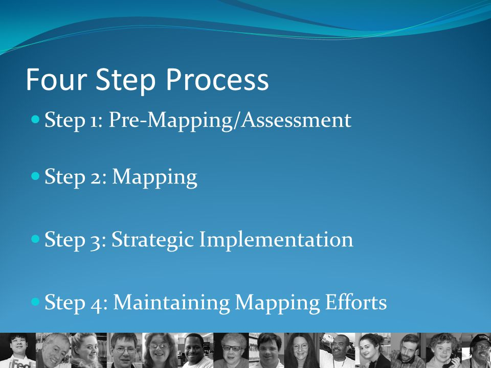 Four Step Process Step 1: Pre-Mapping/Assessment Step 2: Mapping Step 3: Strategic Implementation Step 4: Maintaining Mapping Efforts