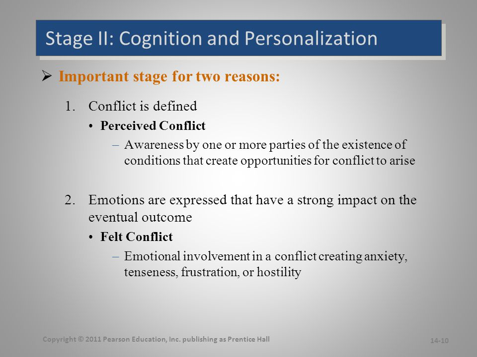 Stage II: Cognition and Personalization  Important stage for two reasons: 1.Conflict is defined Perceived Conflict –Awareness by one or more parties