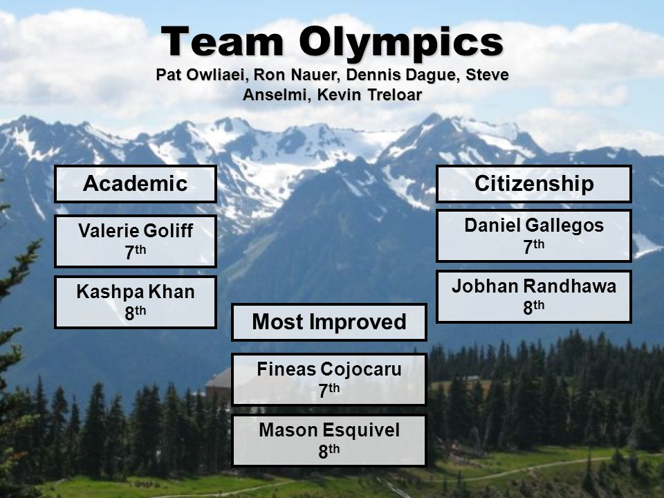 Team Olympics Academic Valerie Goliff 7 th Citizenship Daniel Gallegos 7 th Most Improved Fineas Cojocaru 7 th Pat Owliaei, Ron Nauer, Dennis Dague, S