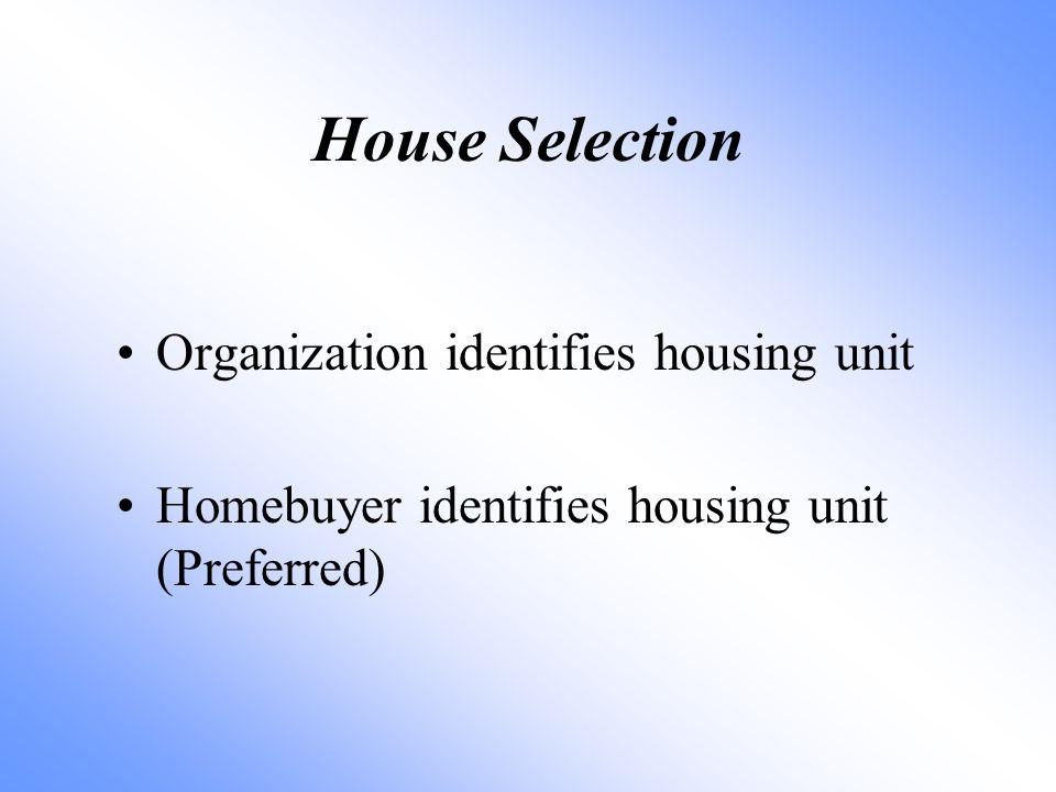 Organization identifies housing unit Homebuyer identifies housing unit (Preferred) House Selection