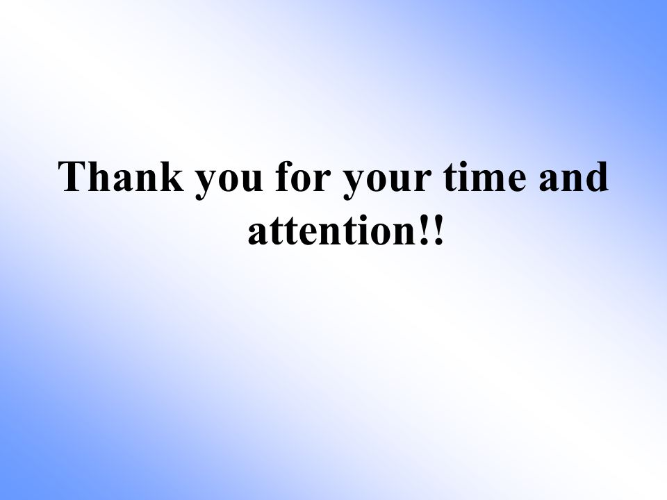 Thank you for your time and attention!!