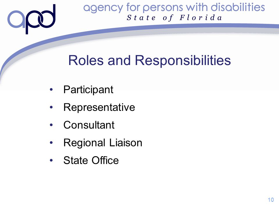 Participant Representative Consultant Regional Liaison State Office Roles and Responsibilities 10