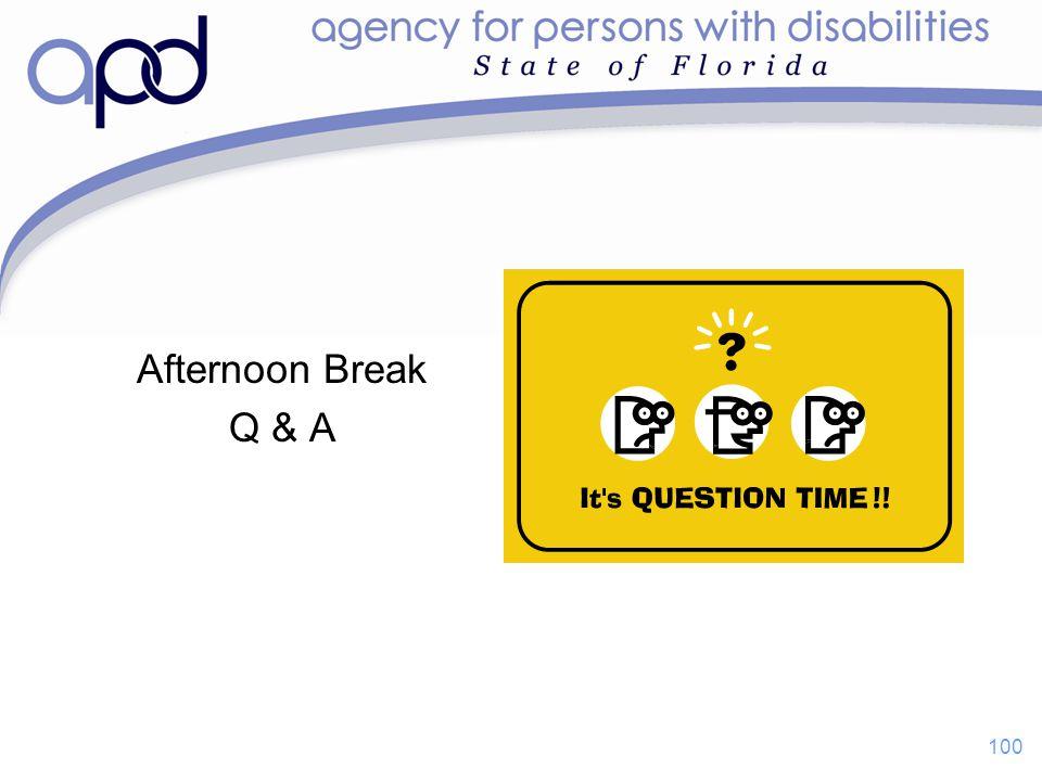 Afternoon Break Q & A 100