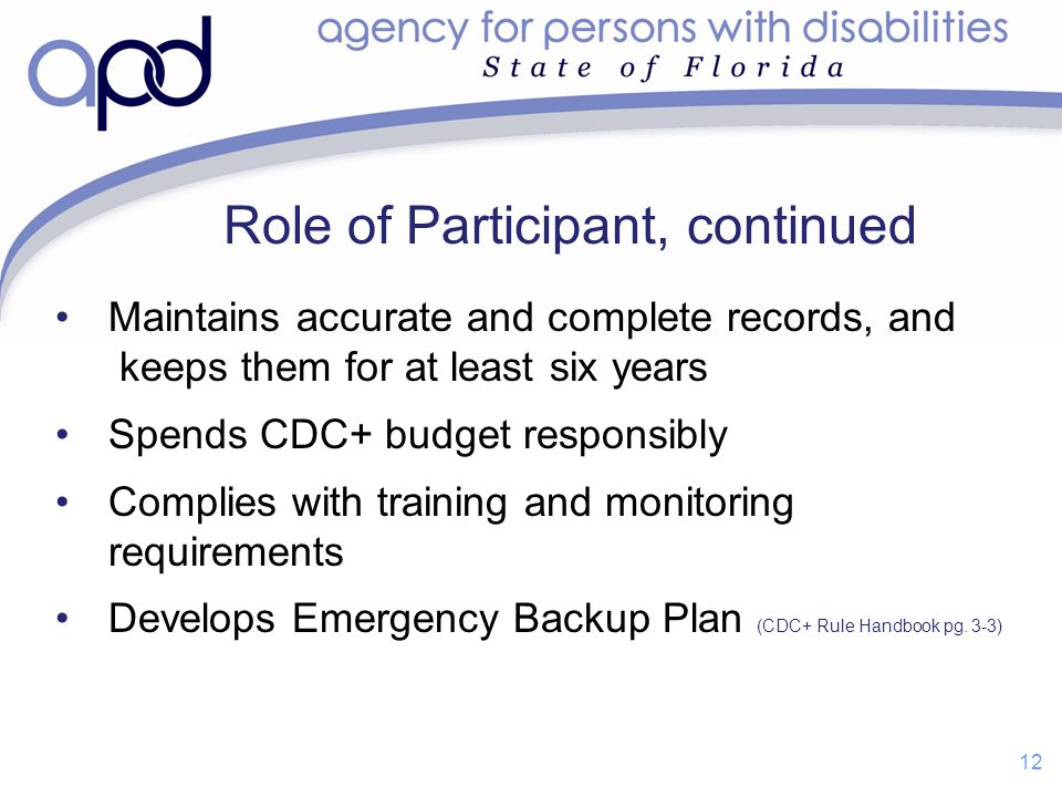 Role of Participant, continued Maintains accurate and complete records, and keeps them for at least six years Spends CDC+ budget responsibly Complies