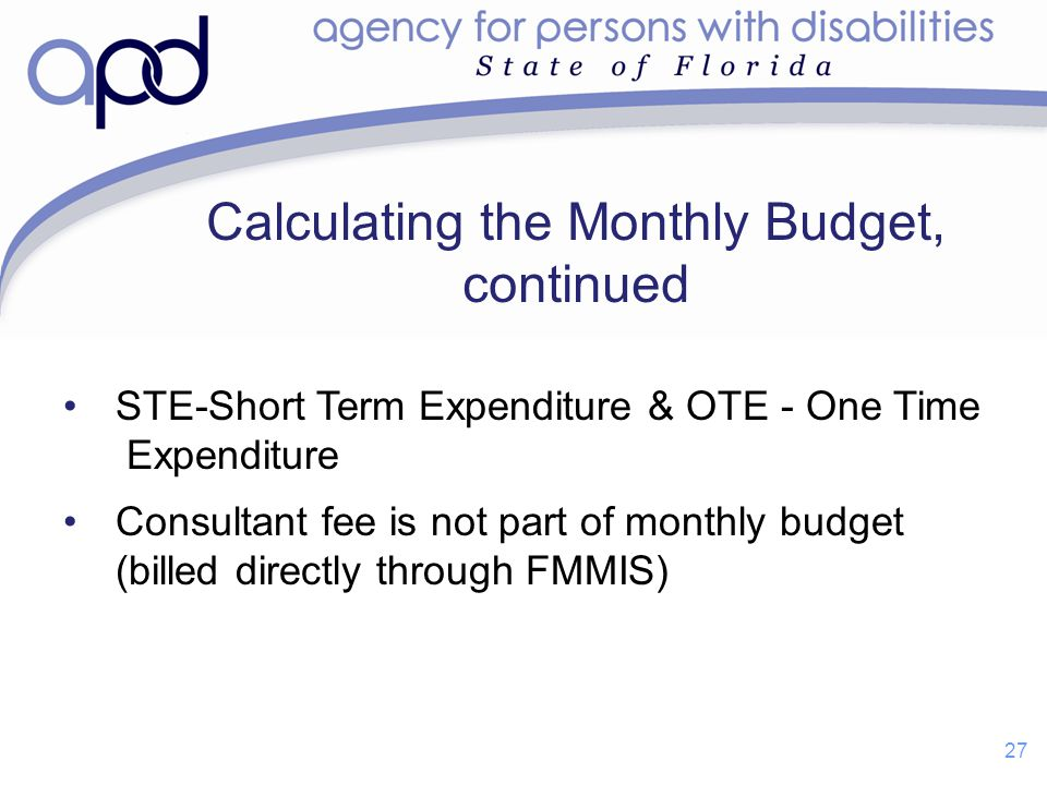 Calculating the Monthly Budget, continued STE-Short Term Expenditure & OTE - One Time Expenditure Consultant fee is not part of monthly budget (billed