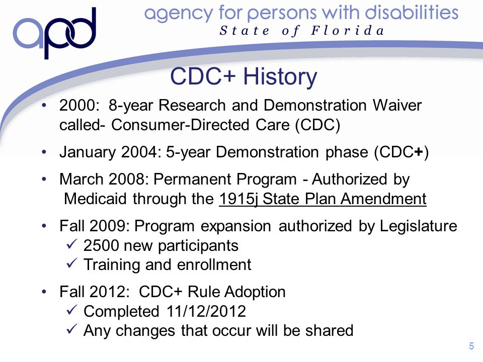 5 2000: 8-year Research and Demonstration Waiver called- Consumer-Directed Care (CDC) January 2004: 5-year Demonstration phase (CDC+) March 2008: Perm
