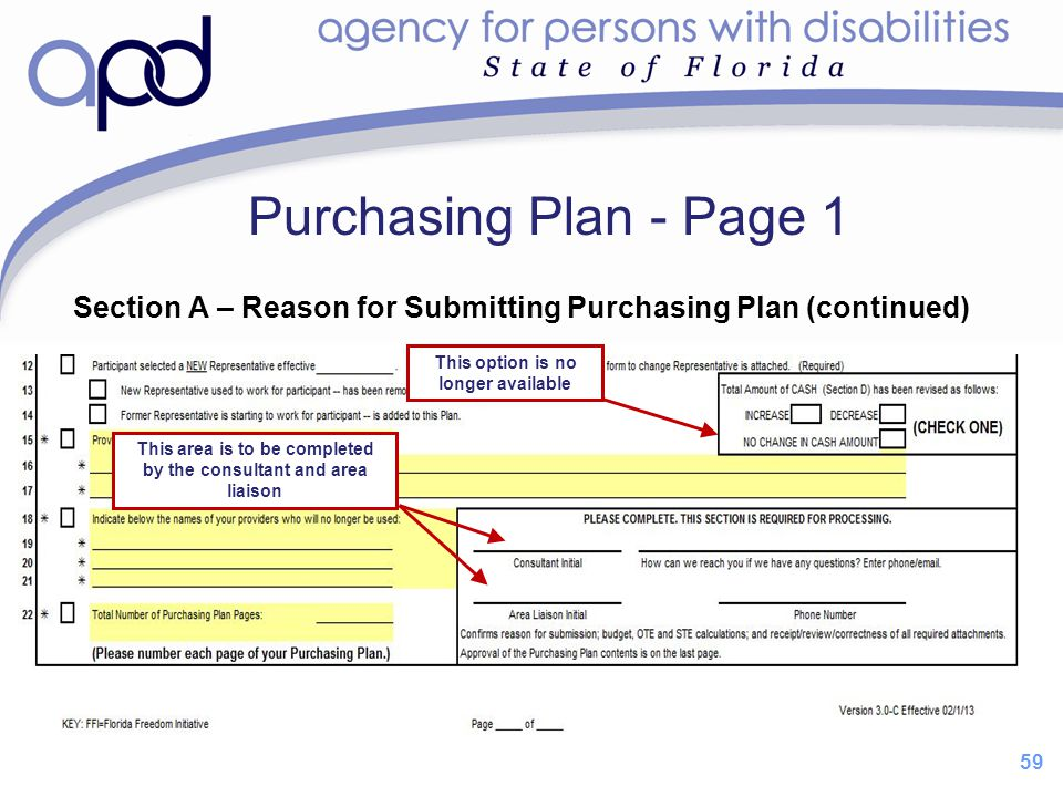 59 Purchasing Plan - Page 1 Section A – Reason for Submitting Purchasing Plan (continued) This option is no longer available This area is to be comple