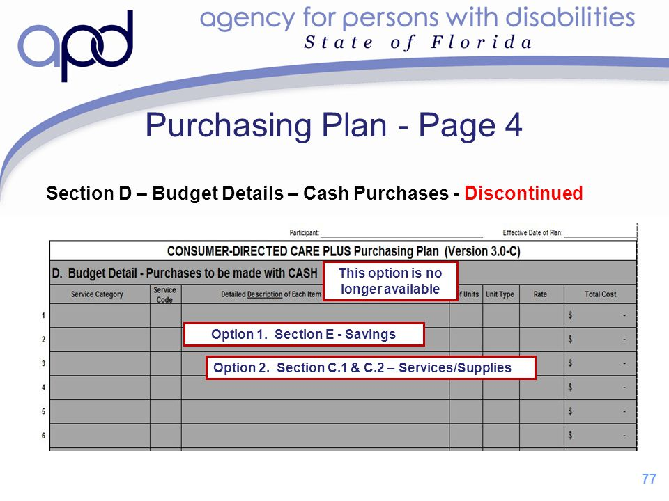 77 Purchasing Plan - Page 4 Section D – Budget Details – Cash Purchases - Discontinued This option is no longer available Option 1. Section E - Saving