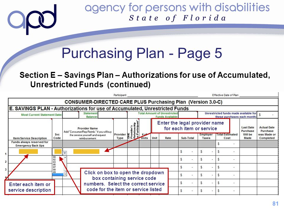 81 Purchasing Plan - Page 5 Section E – Savings Plan – Authorizations for use of Accumulated, Unrestricted Funds (continued) Click on box to open the