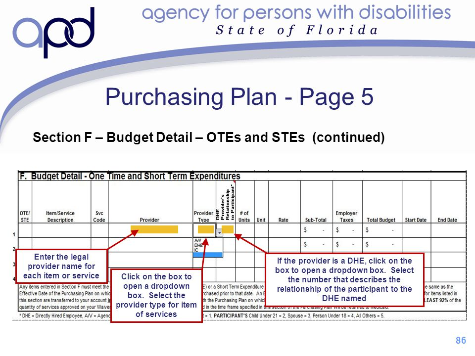 86 Purchasing Plan - Page 5 Section F – Budget Detail – OTEs and STEs (continued) If the provider is a DHE, click on the box to open a dropdown box. S