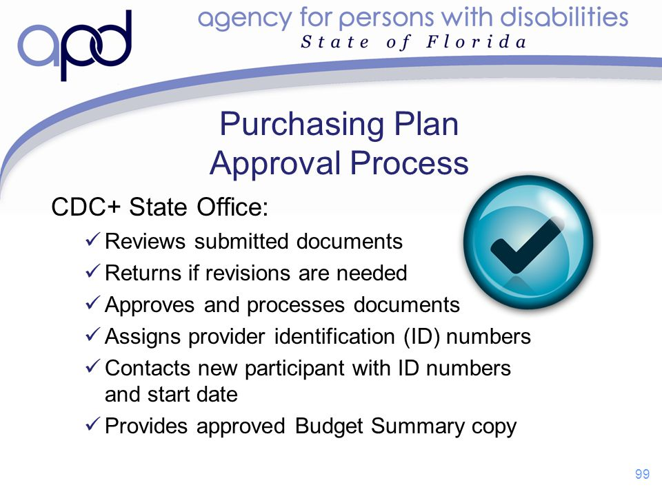 Purchasing Plan Approval Process CDC+ State Office: Reviews submitted documents Returns if revisions are needed Approves and processes documents Assig