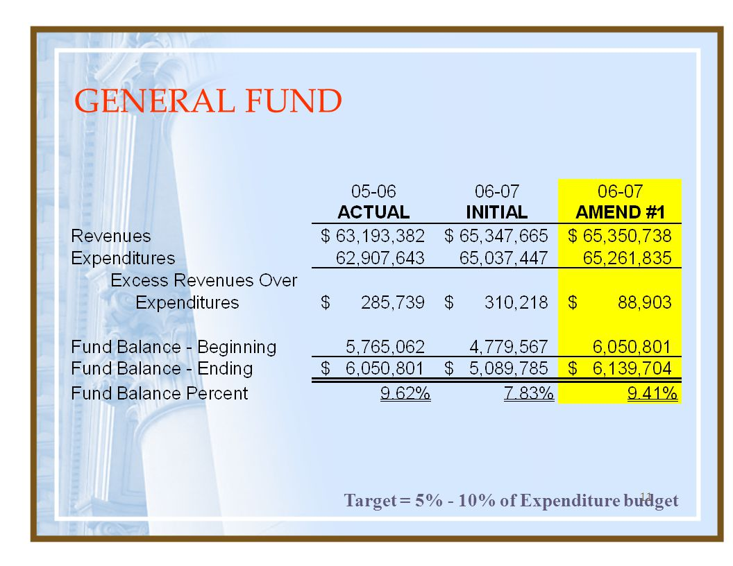 11 GENERAL FUND Target = 5% - 10% of Expenditure budget