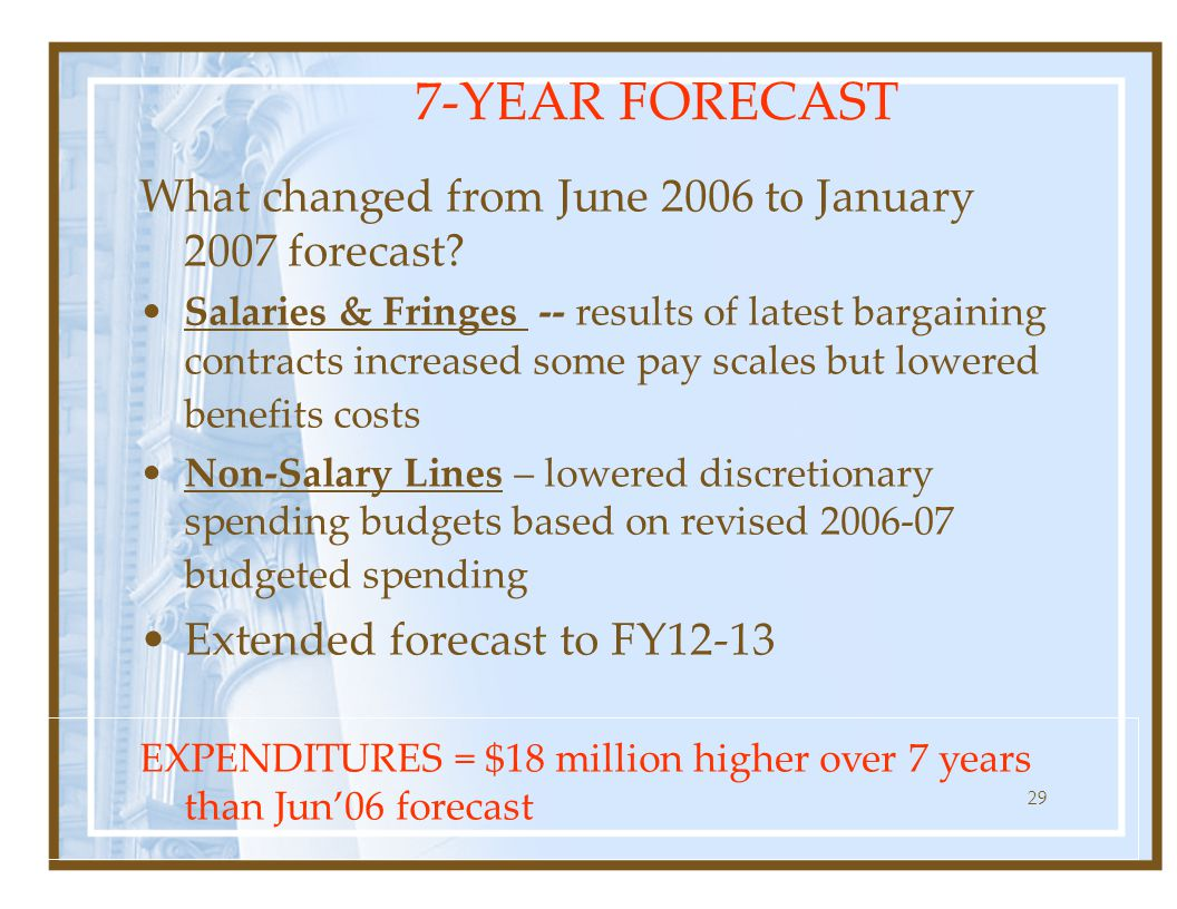 29 What changed from June 2006 to January 2007 forecast.