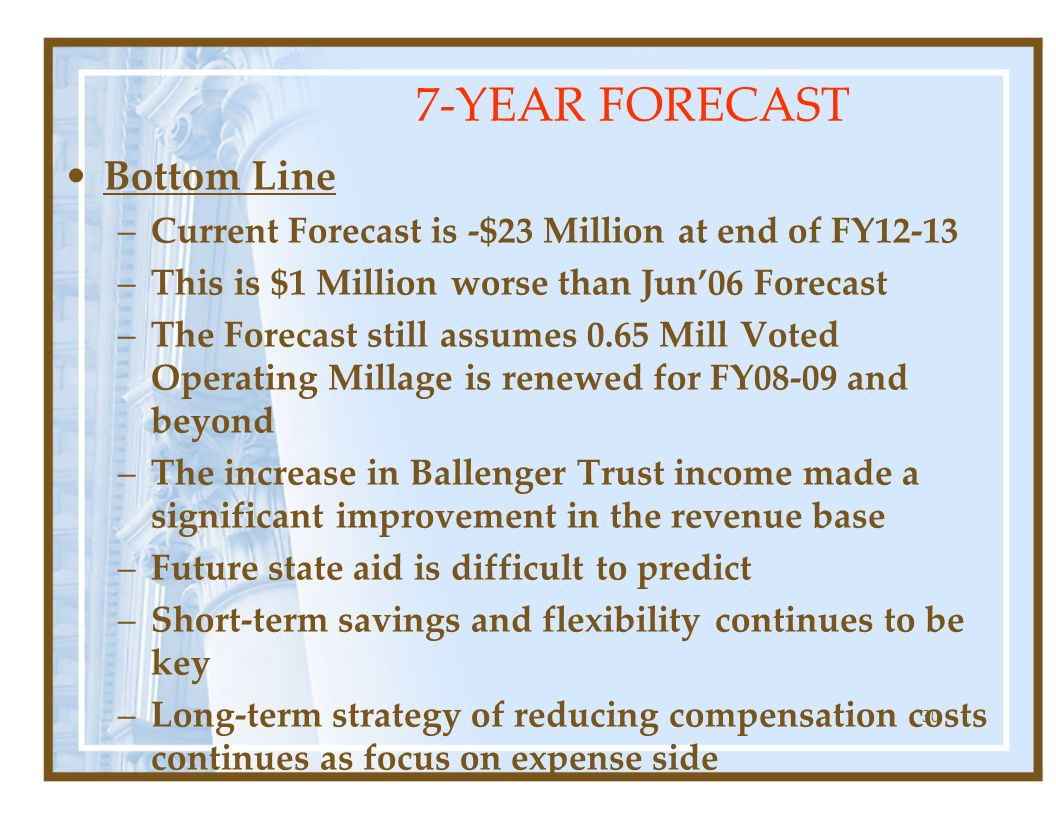 30 Bottom Line –Current Forecast is -$23 Million at end of FY12-13 –This is $1 Million worse than Jun'06 Forecast –The Forecast still assumes 0.65 Mill Voted Operating Millage is renewed for FY08-09 and beyond –The increase in Ballenger Trust income made a significant improvement in the revenue base –Future state aid is difficult to predict –Short-term savings and flexibility continues to be key –Long-term strategy of reducing compensation costs continues as focus on expense side 7-YEAR FORECAST