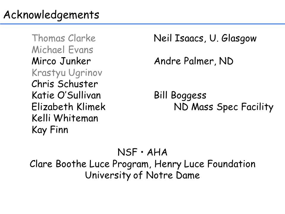 Acknowledgements Thomas Clarke Neil Isaacs, U.