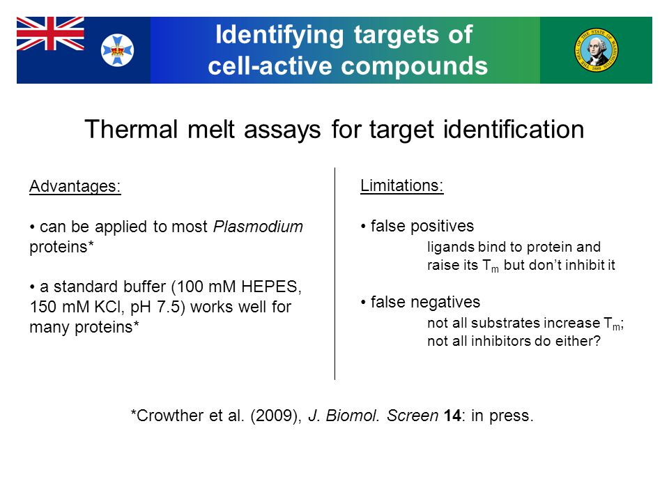 Thermal melt assays for target identification Advantages: can be applied to most Plasmodium proteins* a standard buffer (100 mM HEPES, 150 mM KCl, pH 7.5) works well for many proteins* Limitations: false positives ligands bind to protein and raise its T m but don't inhibit it false negatives not all substrates increase T m ; not all inhibitors do either.