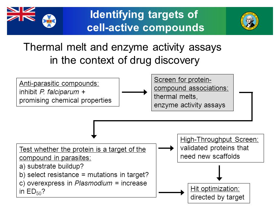 Identifying targets of cell-active compounds Anti-parasitic compounds: inhibit P.