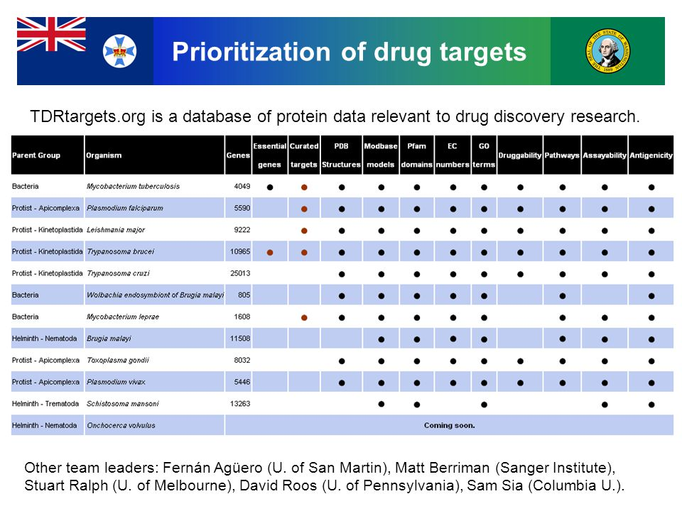 Prioritization of drug targets TDRtargets.org is a database of protein data relevant to drug discovery research.