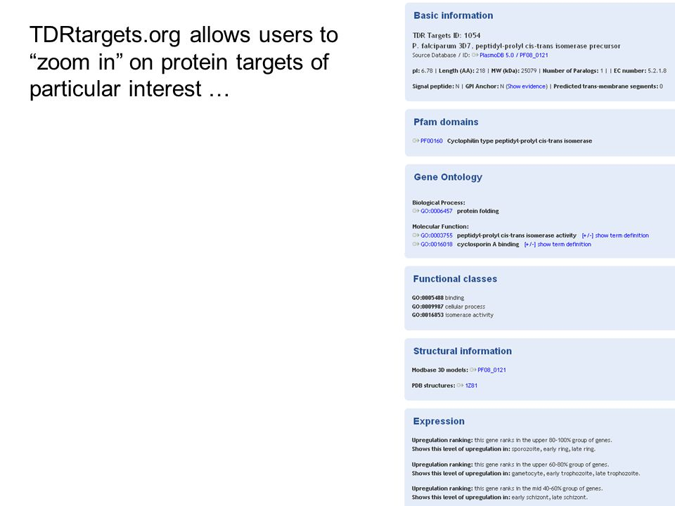 Prioritization of drug targets TDRtargets.org allows users to zoom in on protein targets of particular interest …