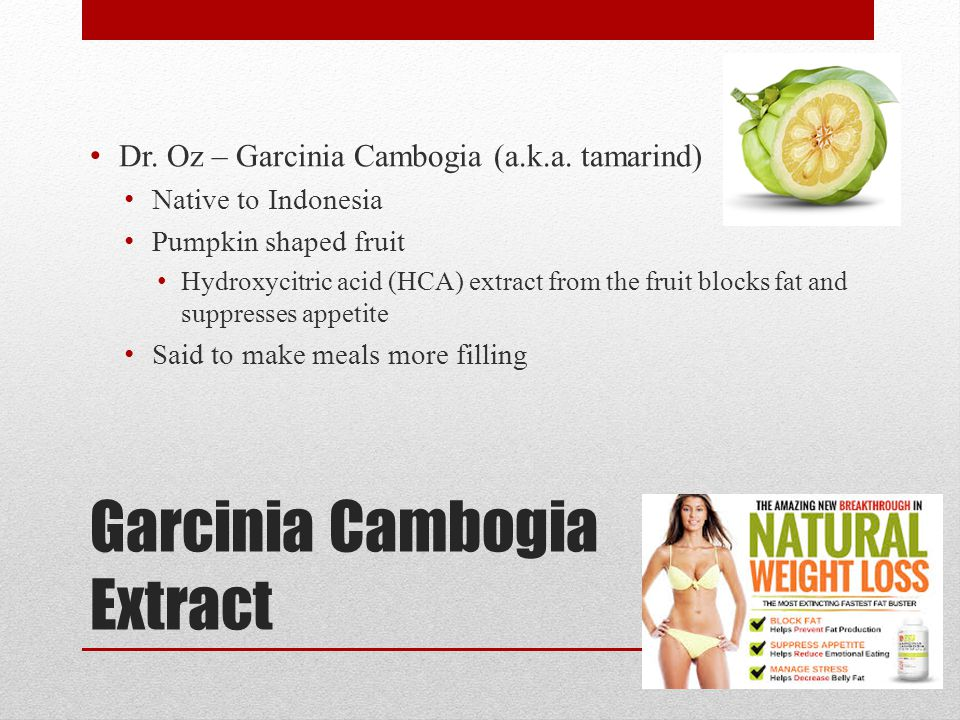 Garcinia Cambogia Extract Dr. Oz – Garcinia Cambogia (a.k.a. tamarind) Native to Indonesia Pumpkin shaped fruit Hydroxycitric acid (HCA) extract from