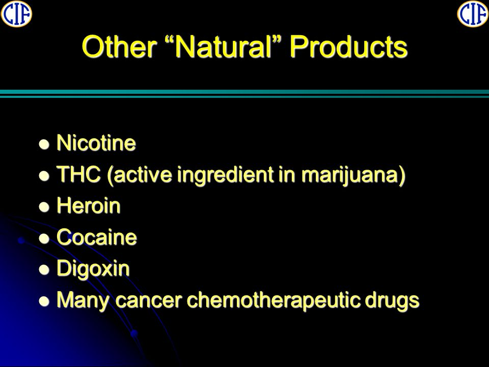Other Natural Products Nicotine Nicotine THC (active ingredient in marijuana) THC (active ingredient in marijuana) Heroin Heroin Cocaine Cocaine Digoxin Digoxin Many cancer chemotherapeutic drugs Many cancer chemotherapeutic drugs