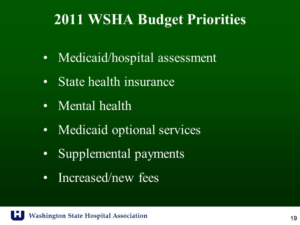 Washington State Hospital Association 19 2011 WSHA Budget Priorities Medicaid/hospital assessment State health insurance Mental health Medicaid optional services Supplemental payments Increased/new fees