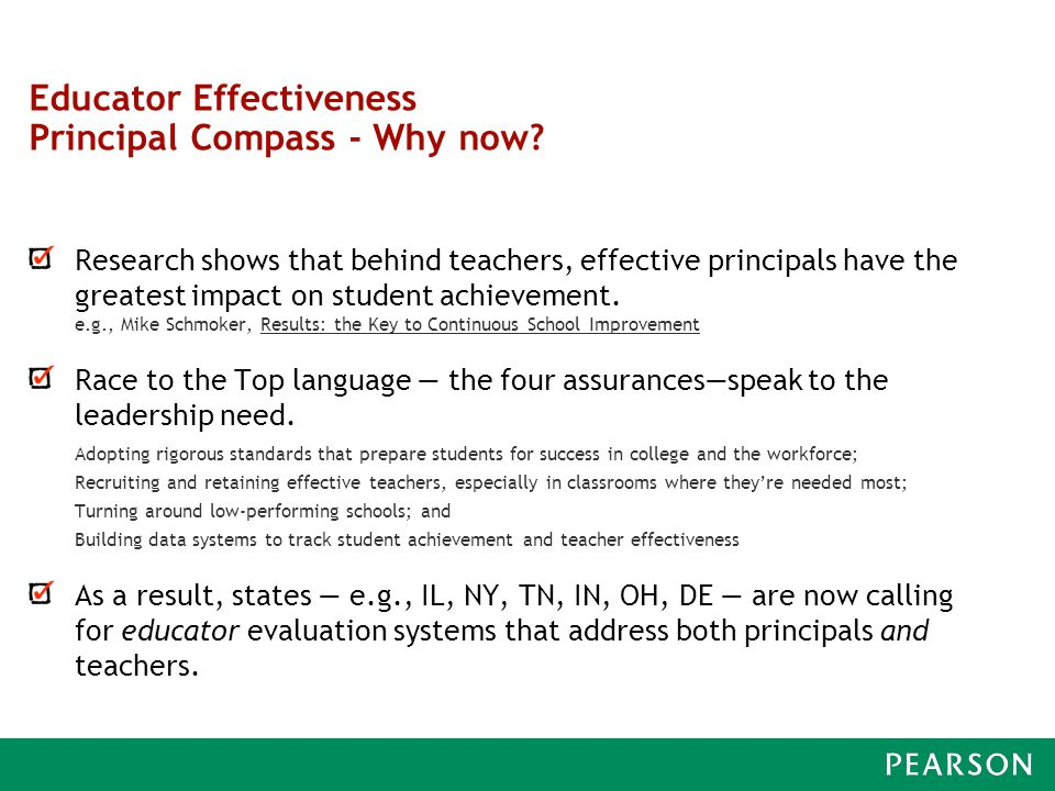 Educator Effectiveness Principal Compass - Why now.