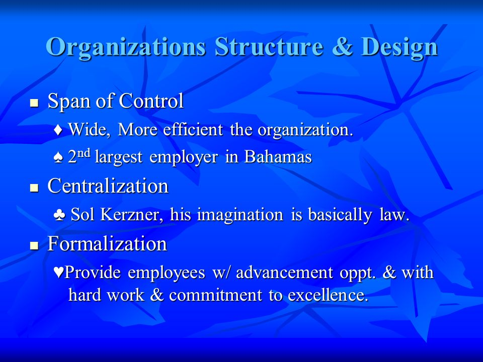 Organizations Structure & Design Span of Control Span of Control ♦ Wide, More efficient the organization.