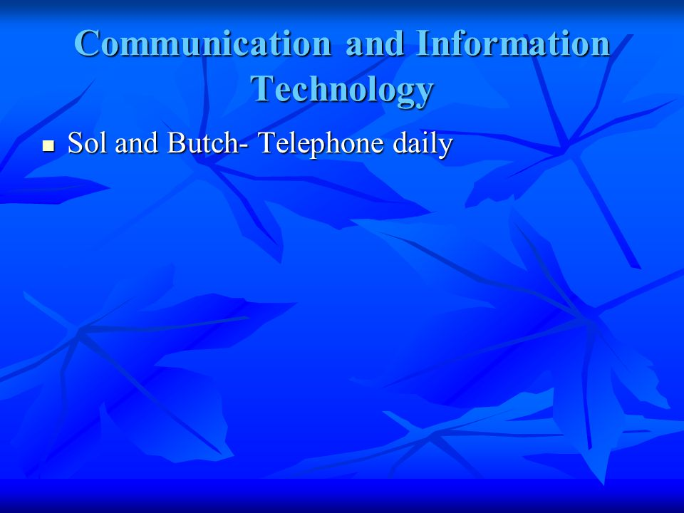 Communication and Information Technology Sol and Butch- Telephone daily Sol and Butch- Telephone daily