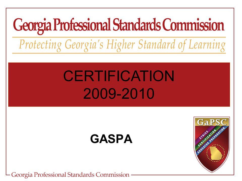 CERTIFICATION 2009-2010 GASPA