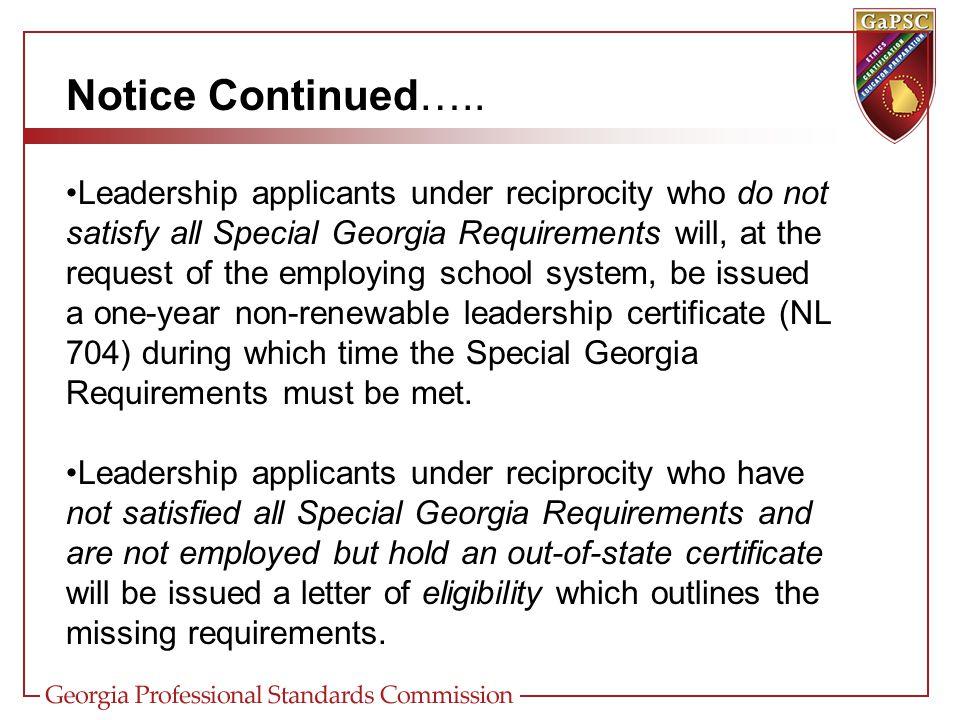 Notice Continued…..