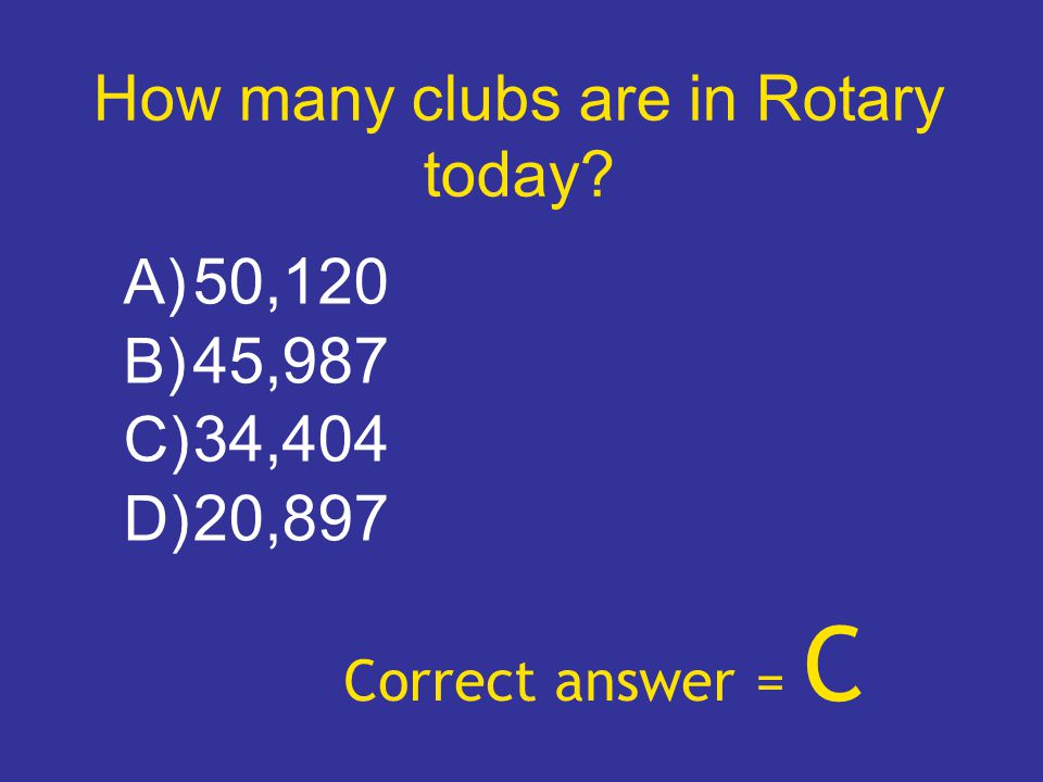 How many clubs are in Rotary today? A) 50,120 B) 45,987 C) 34,404 D) 20,897 Correct answer = C