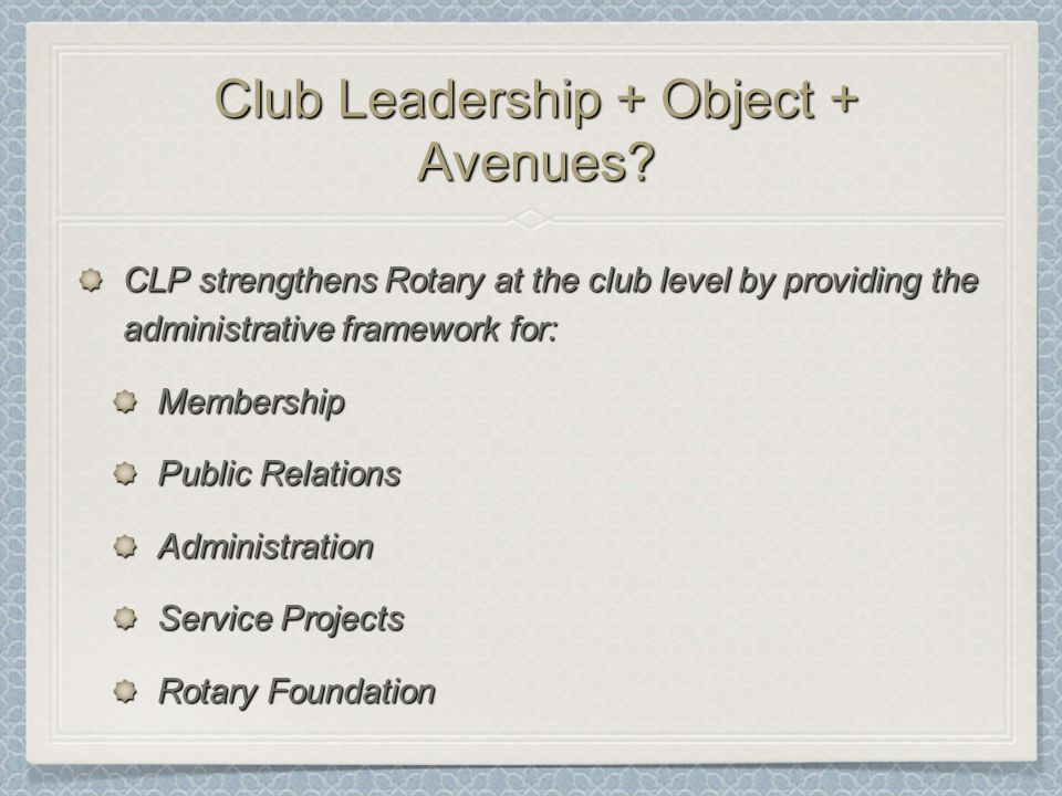 Club Leadership + Object + Avenues.