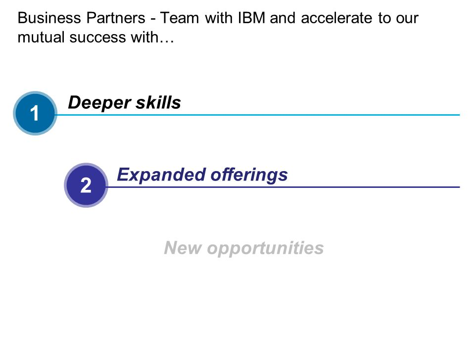 Business Partners - Team with IBM and accelerate to our mutual success with… 1 Deeper skills 2 Expanded offerings 3 New opportunities