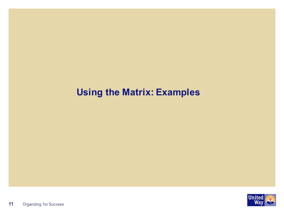 Using the Matrix: Examples Organizing for Success 11