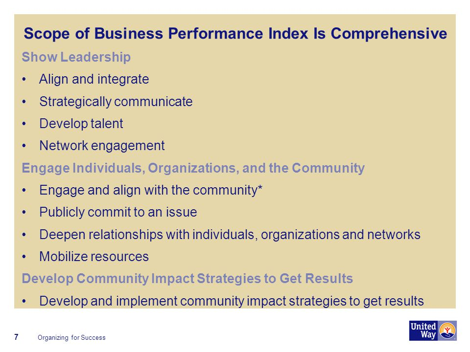Scope of Business Performance Index Is Comprehensive Show Leadership Align and integrate Strategically communicate Develop talent Network engagement Engage Individuals, Organizations, and the Community Engage and align with the community* Publicly commit to an issue Deepen relationships with individuals, organizations and networks Mobilize resources Develop Community Impact Strategies to Get Results Develop and implement community impact strategies to get results 7 Organizing for Success