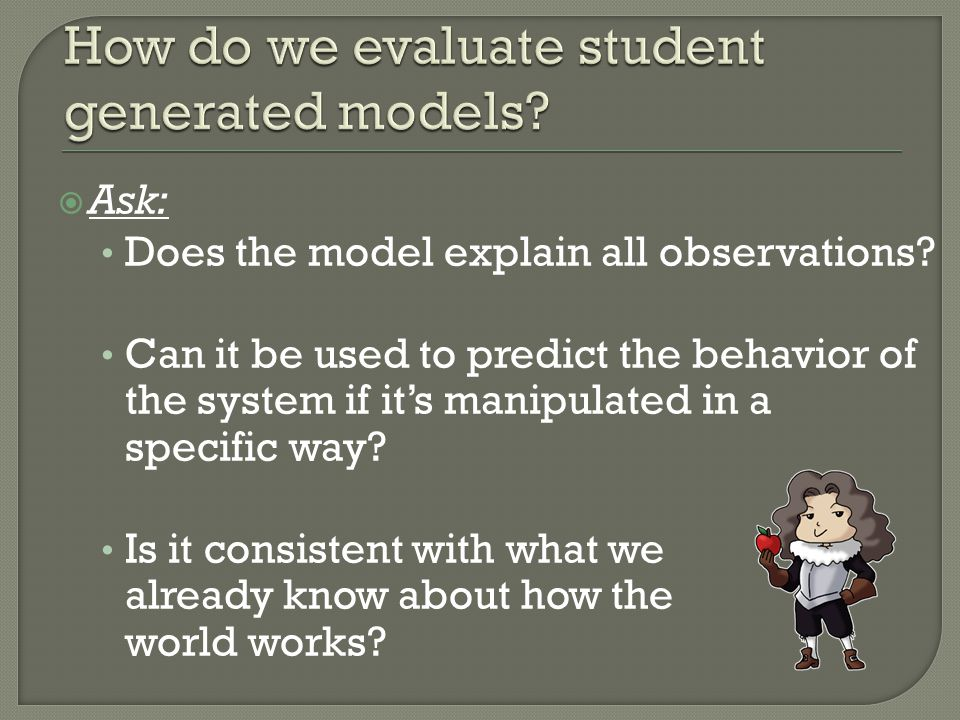  Ask: Does the model explain all observations.