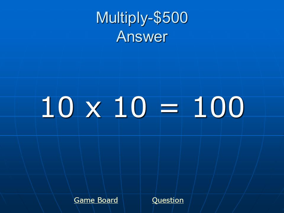 Fractions-$100 Answer ¼ one fourth GameboardQuestion