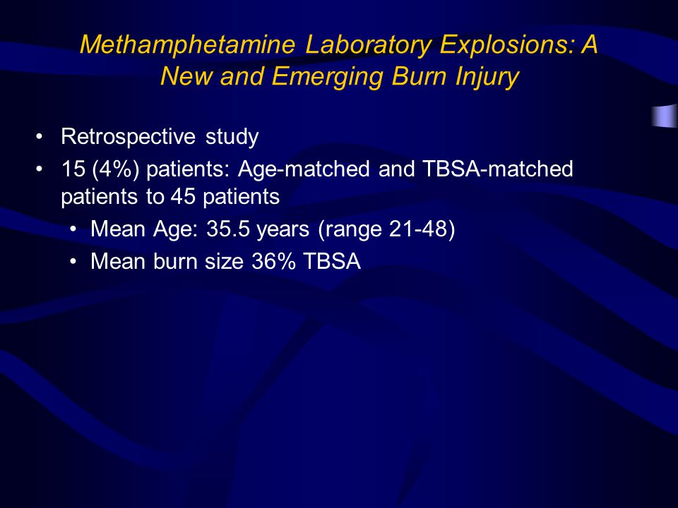 Methamphetamine Laboratory Explosions: A New and Emerging Burn Injury Retrospective study 15 (4%) patients: Age-matched and TBSA-matched patients to 45 patients Mean Age: 35.5 years (range 21-48) Mean burn size 36% TBSA