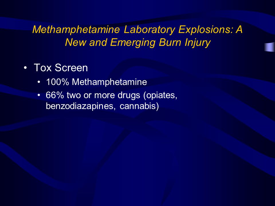 Methamphetamine Laboratory Explosions: A New and Emerging Burn Injury Tox Screen 100% Methamphetamine 66% two or more drugs (opiates, benzodiazapines, cannabis)