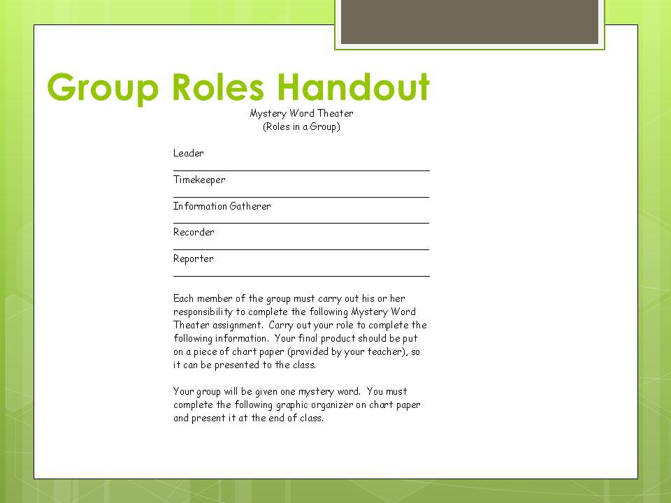 Group Roles Handout