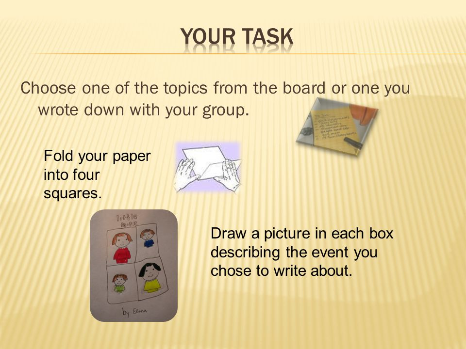 Your Task Add captions to your pictures.These can be words or sentences.