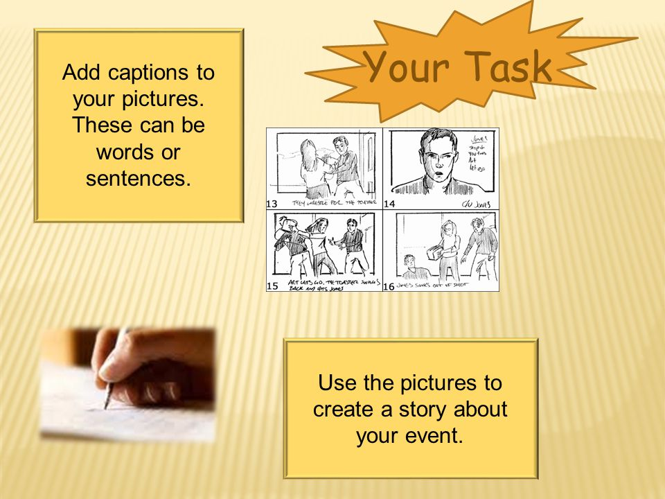 Your Task Add captions to your pictures. These can be words or sentences.