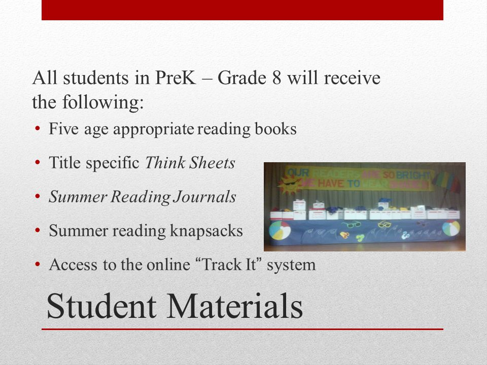 Student Materials All students in PreK – Grade 8 will receive the following: Five age appropriate reading books Title specific Think Sheets Summer Rea